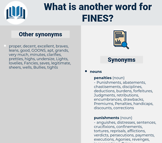 fines, synonym fines, another word for fines, words like fines, thesaurus fines