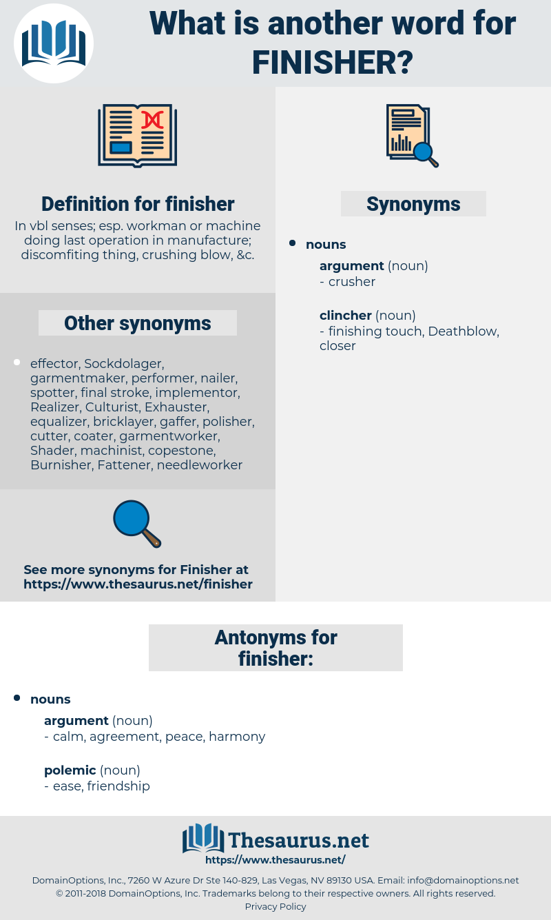 finisher, synonym finisher, another word for finisher, words like finisher, thesaurus finisher