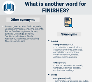 finishes, synonym finishes, another word for finishes, words like finishes, thesaurus finishes