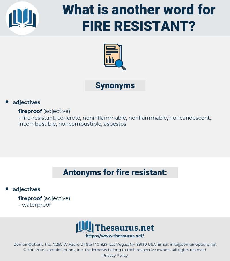 fire-resistant, synonym fire-resistant, another word for fire-resistant, words like fire-resistant, thesaurus fire-resistant