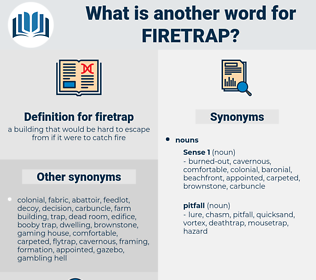firetrap, synonym firetrap, another word for firetrap, words like firetrap, thesaurus firetrap