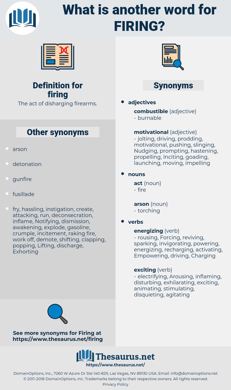 firing, synonym firing, another word for firing, words like firing, thesaurus firing