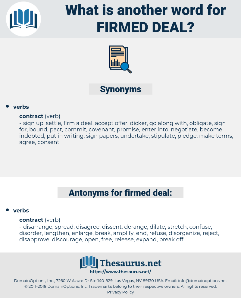firmed deal, synonym firmed deal, another word for firmed deal, words like firmed deal, thesaurus firmed deal