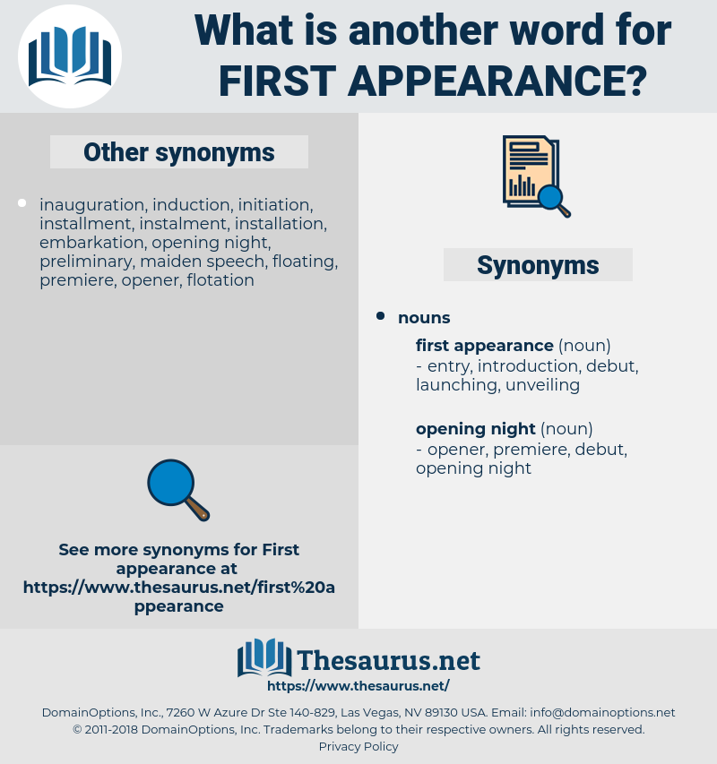 first appearance, synonym first appearance, another word for first appearance, words like first appearance, thesaurus first appearance