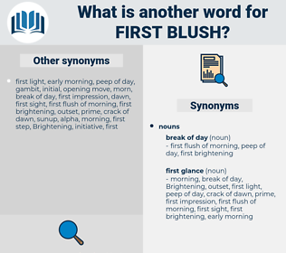 first blush, synonym first blush, another word for first blush, words like first blush, thesaurus first blush