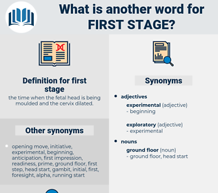 first stage, synonym first stage, another word for first stage, words like first stage, thesaurus first stage