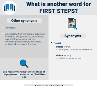 first steps, synonym first steps, another word for first steps, words like first steps, thesaurus first steps