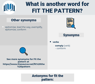fit the pattern, synonym fit the pattern, another word for fit the pattern, words like fit the pattern, thesaurus fit the pattern