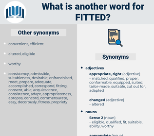 Fitted, synonym Fitted, another word for Fitted, words like Fitted, thesaurus Fitted