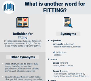 fitting, synonym fitting, another word for fitting, words like fitting, thesaurus fitting