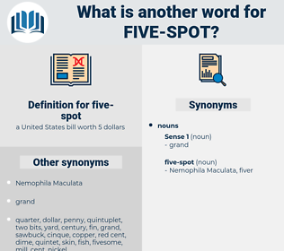 five-spot, synonym five-spot, another word for five-spot, words like five-spot, thesaurus five-spot