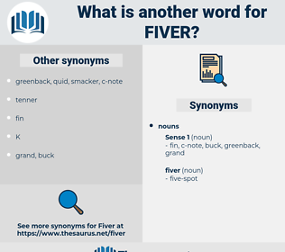 fiver, synonym fiver, another word for fiver, words like fiver, thesaurus fiver