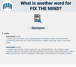 fix the mind, synonym fix the mind, another word for fix the mind, words like fix the mind, thesaurus fix the mind