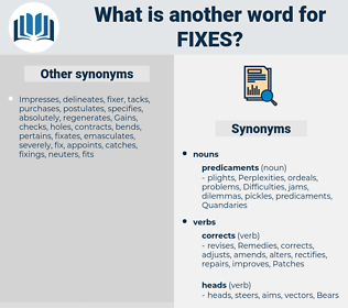 fixes, synonym fixes, another word for fixes, words like fixes, thesaurus fixes