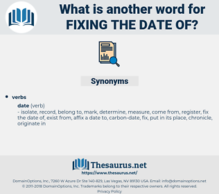 fixing the date of, synonym fixing the date of, another word for fixing the date of, words like fixing the date of, thesaurus fixing the date of