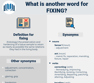 fixing, synonym fixing, another word for fixing, words like fixing, thesaurus fixing