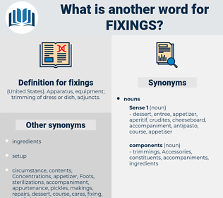 fixings, synonym fixings, another word for fixings, words like fixings, thesaurus fixings