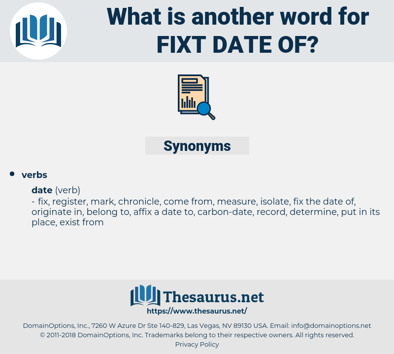 fixt date of, synonym fixt date of, another word for fixt date of, words like fixt date of, thesaurus fixt date of