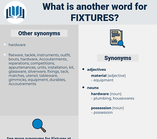 fixtures, synonym fixtures, another word for fixtures, words like fixtures, thesaurus fixtures