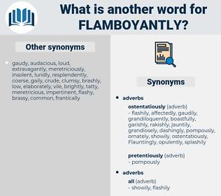 flamboyantly, synonym flamboyantly, another word for flamboyantly, words like flamboyantly, thesaurus flamboyantly