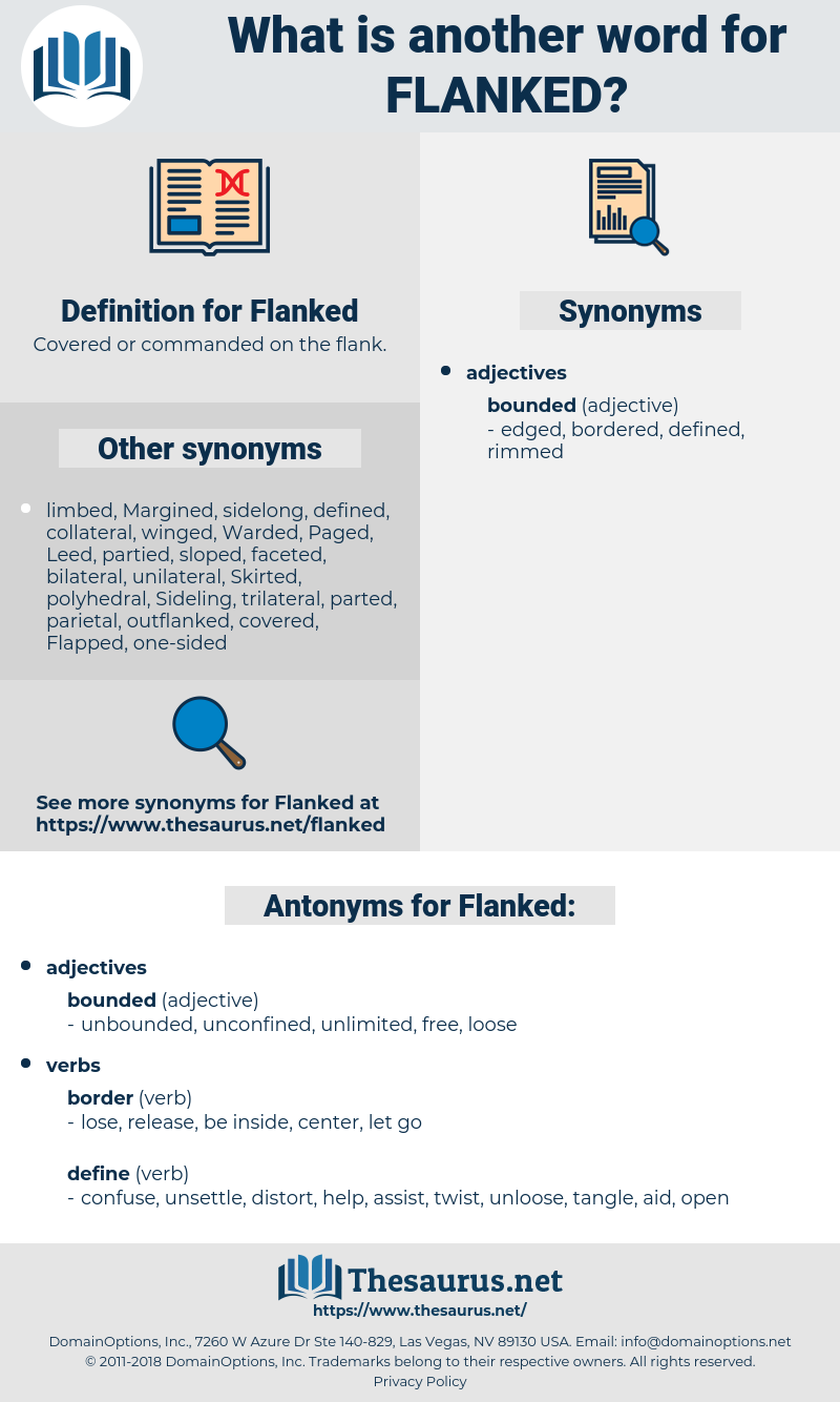 Flanked, synonym Flanked, another word for Flanked, words like Flanked, thesaurus Flanked