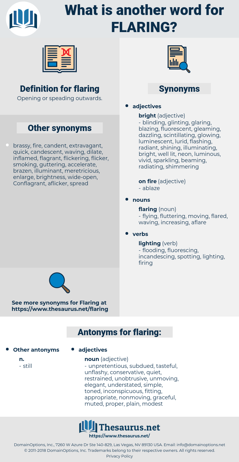 flaring, synonym flaring, another word for flaring, words like flaring, thesaurus flaring