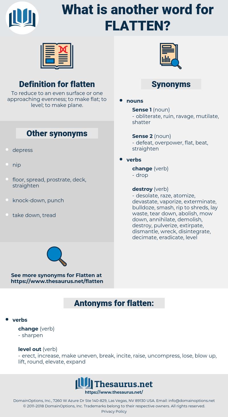 flatten, synonym flatten, another word for flatten, words like flatten, thesaurus flatten
