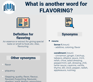 flavoring, synonym flavoring, another word for flavoring, words like flavoring, thesaurus flavoring