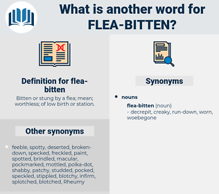 flea-bitten, synonym flea-bitten, another word for flea-bitten, words like flea-bitten, thesaurus flea-bitten