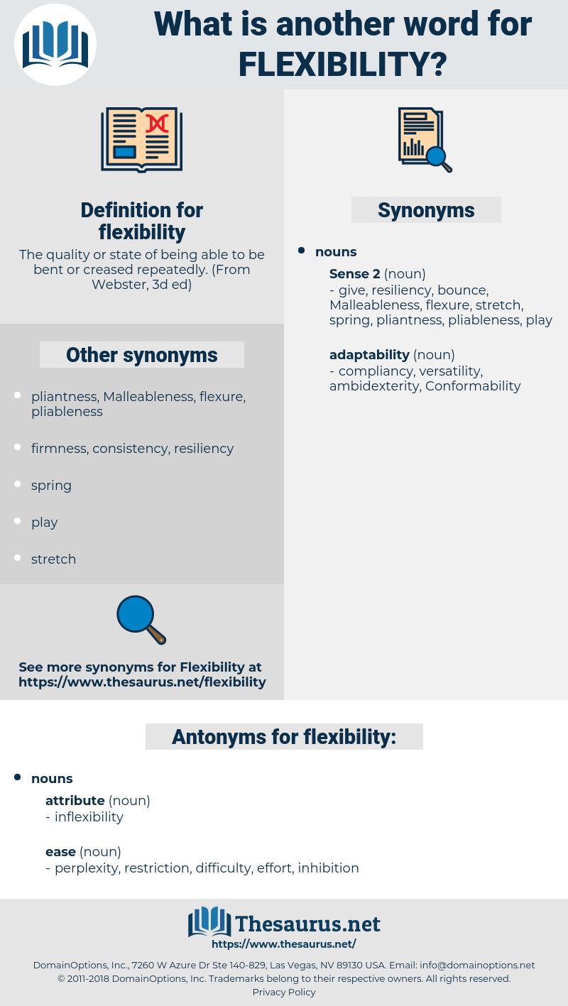 flexibility, synonym flexibility, another word for flexibility, words like flexibility, thesaurus flexibility