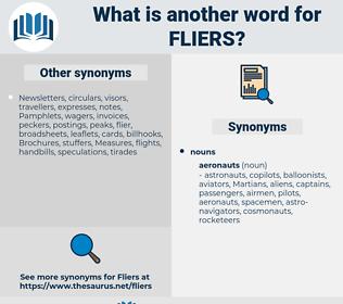 fliers, synonym fliers, another word for fliers, words like fliers, thesaurus fliers