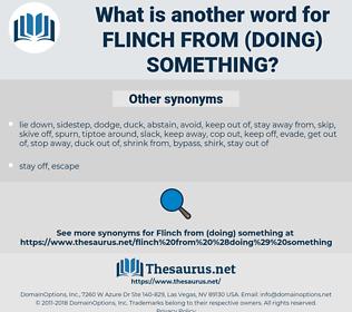 flinch from (doing) something, synonym flinch from (doing) something, another word for flinch from (doing) something, words like flinch from (doing) something, thesaurus flinch from (doing) something