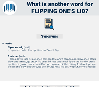 flipping one's lid, synonym flipping one's lid, another word for flipping one's lid, words like flipping one's lid, thesaurus flipping one's lid