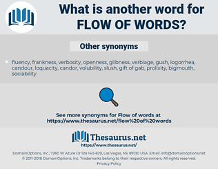 flow of words, synonym flow of words, another word for flow of words, words like flow of words, thesaurus flow of words