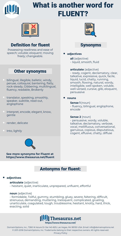 fluent, synonym fluent, another word for fluent, words like fluent, thesaurus fluent