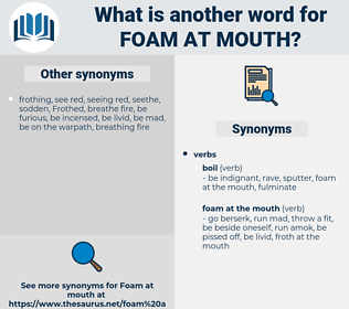 foam at mouth, synonym foam at mouth, another word for foam at mouth, words like foam at mouth, thesaurus foam at mouth