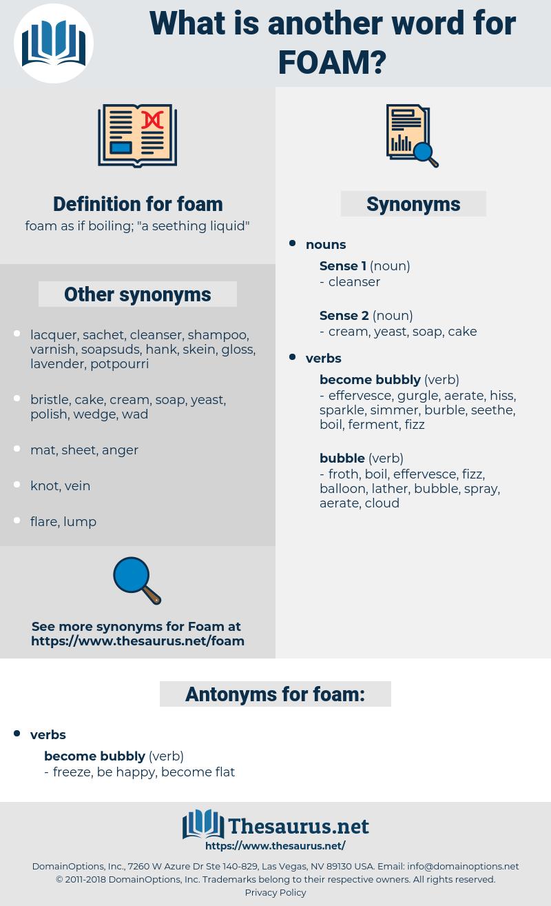 foam, synonym foam, another word for foam, words like foam, thesaurus foam