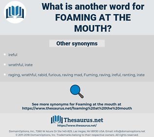 foaming at the mouth, synonym foaming at the mouth, another word for foaming at the mouth, words like foaming at the mouth, thesaurus foaming at the mouth