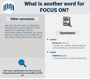 focus on, synonym focus on, another word for focus on, words like focus on, thesaurus focus on