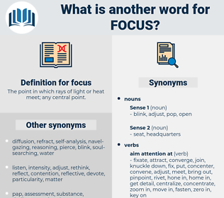 focus, synonym focus, another word for focus, words like focus, thesaurus focus