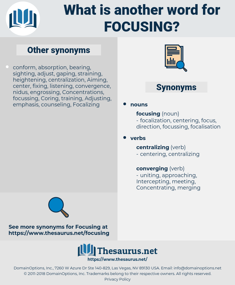 focusing, synonym focusing, another word for focusing, words like focusing, thesaurus focusing