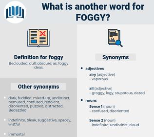 foggy, synonym foggy, another word for foggy, words like foggy, thesaurus foggy