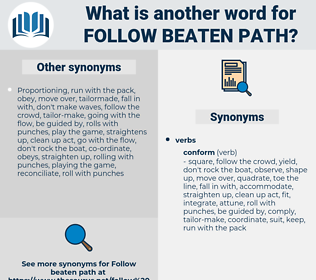 follow beaten path, synonym follow beaten path, another word for follow beaten path, words like follow beaten path, thesaurus follow beaten path