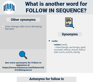 follow in sequence, synonym follow in sequence, another word for follow in sequence, words like follow in sequence, thesaurus follow in sequence