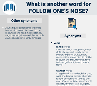 follow one's nose, synonym follow one's nose, another word for follow one's nose, words like follow one's nose, thesaurus follow one's nose