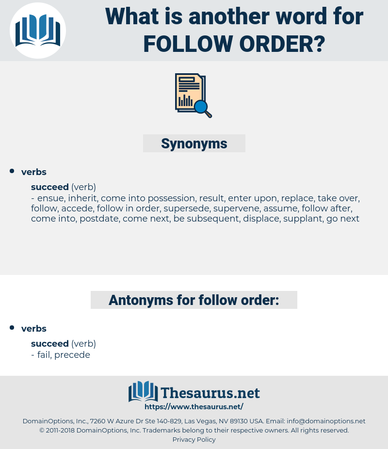follow order, synonym follow order, another word for follow order, words like follow order, thesaurus follow order