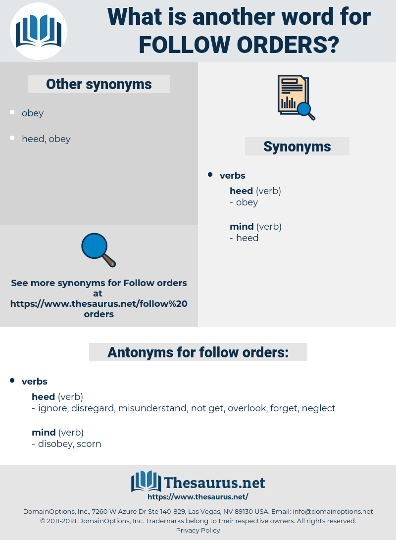 follow orders, synonym follow orders, another word for follow orders, words like follow orders, thesaurus follow orders