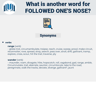 followed one's nose, synonym followed one's nose, another word for followed one's nose, words like followed one's nose, thesaurus followed one's nose