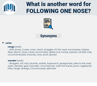 following one nose, synonym following one nose, another word for following one nose, words like following one nose, thesaurus following one nose