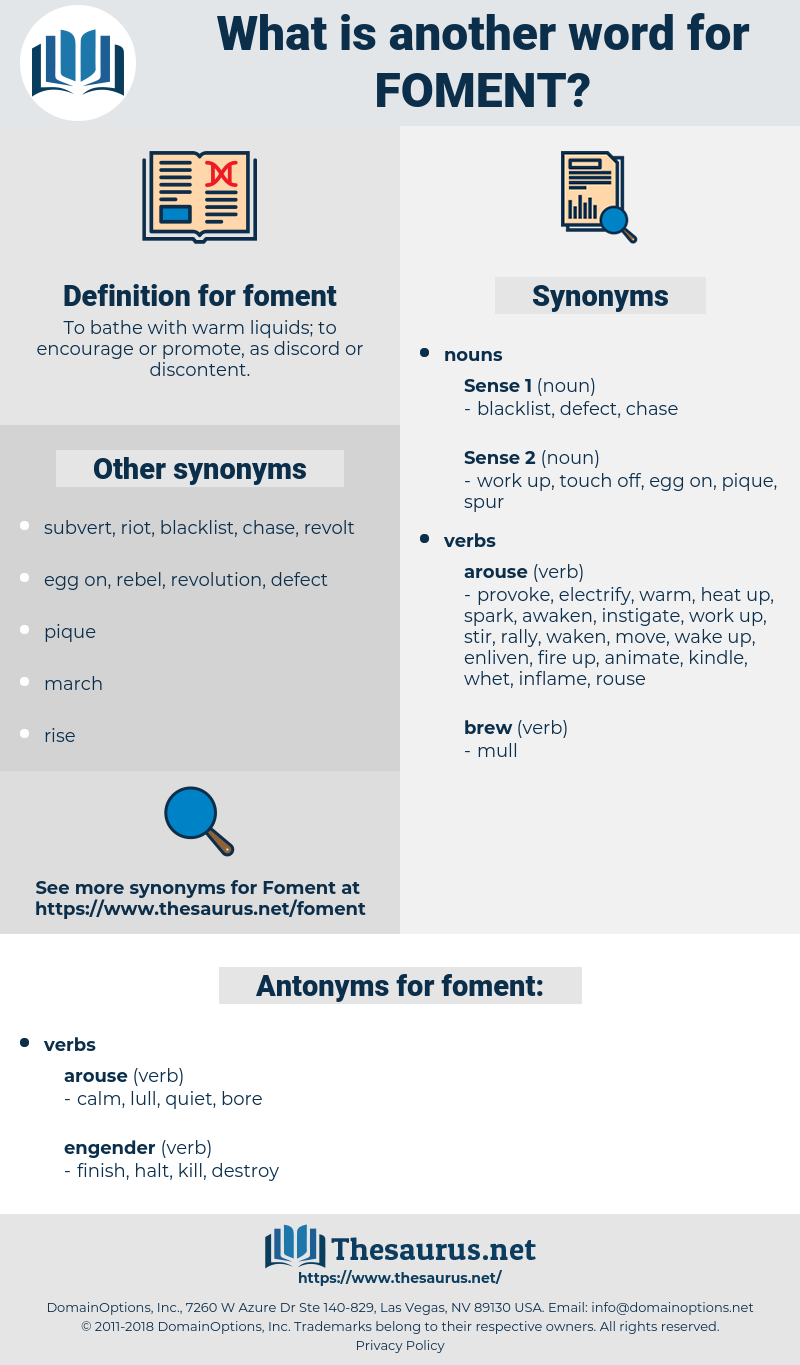 foment, synonym foment, another word for foment, words like foment, thesaurus foment